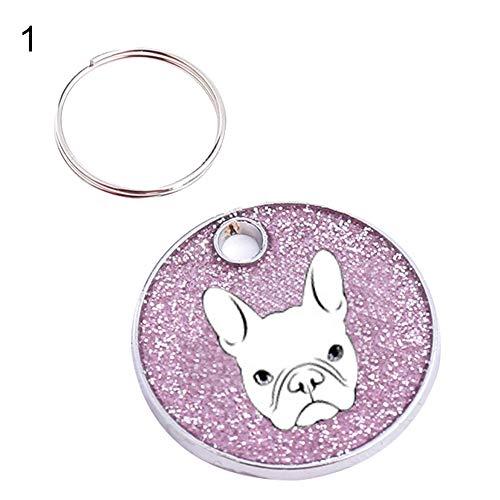zNLIgHT Schlüsselanhänger Labrador Bulldogge Hund ID Name Tag Adresse Haustier Anti-Verlust Schlüsselanhänger Halsband Anhänger - Silber 1