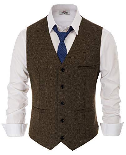 PaulJones Anzug Weste Herren Slim Fit Anzugweste V- Ausschnitt Elegant Retro Business Hochzeit Freizeit Tweed Weste (XX-Large, Dunkelbraun)