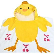 HAPPY CHERRY Niños Toalla de Baño de 100% Algodón Diseño Animal con Capucha Poncho / Toalla de Playa - 85x60cm