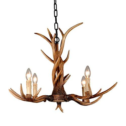 EFFORTINC Vintage Chandelier Deer Horn Resin 4 Lights,Rural Countryside  Antler Chandeliers, Study Room