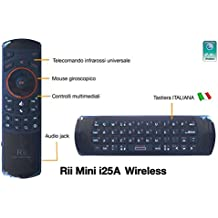 Rii Mini i25A (layout ITALIANO) - Mini tastiera wireless con Mouse giroscopico, Audio Jack 3.5