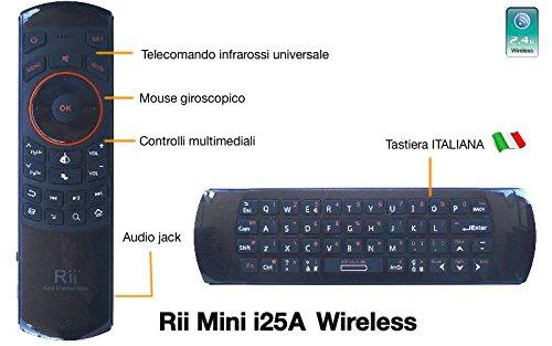"""Rii Mini i25A (layout ITALIANO) - Mini tastiera wireless con Mouse giroscopico, Audio Jack 3.5"""", Microfono e telecomando infrarossi universale per Smart TV, Mini PC, HTPC, Console, Computer"""