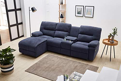 lifestyle4living Sofa Webstoff Blau, Ecksofa mit Liegefunktion zum relaxen, Kinosofa inkl. Getränkehalter und Stauraumfach, Moderne Eckkoch mit hochwertiger Polsterung