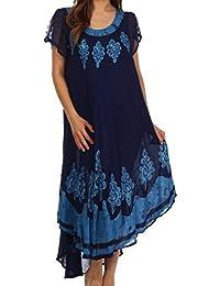 Sakkas Batik Hindi Cap Sleeve Caftan Dress / Cover Up