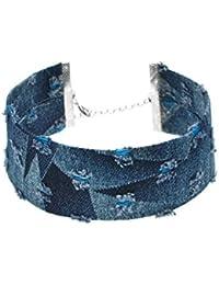 318531e8b1dd HAOJIUBUJIAN Jean Hechos A Mano Gargantilla Collares para Mujeres Damas Moda  Vintage Joyería Jeans