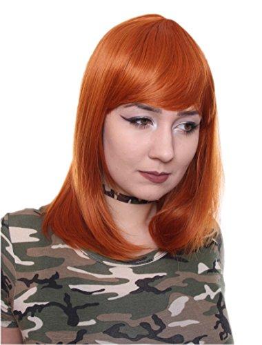 Prettyland Kupfer Orange Mittellange Glatte Natürlich Matte wie Echthaar hitzefeste Volumen Perücke Wig C198