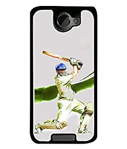 PrintVisa Designer Back Case Cover for HTC One X :: HTC One X+ :: HTC One X Plus :: HTC One XT (Cricketer Played Shot with helmat and Pads)
