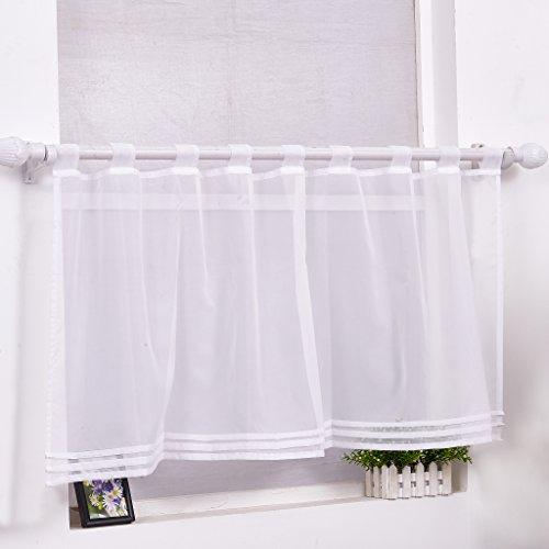 Scheibengardine Bistrogardine Modern Transparent Vorhang Kurzstore mit Schlaufen Weiss HxB 30x90cm