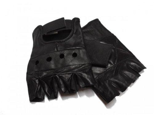 Lederhandschuhe ohne Finger, fingerlose Handschuhe, schwarz S - XXL XL,Schwarz