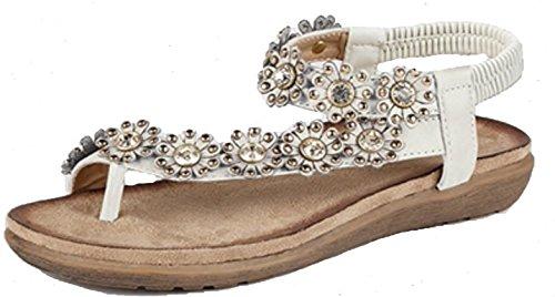 Damen-Sandale mit Strasssteinen, Blumen-Design, mit Zehensteg Weiß