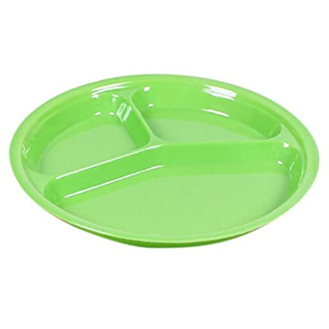 Highdas Children Melamine Round Three Divided Plate Dish Tray Utensils 10 inch (Bambino Piatti Per Casa)