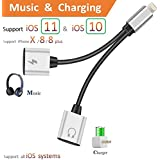 2 en 1 adaptateur Lightning iPhone 7/7 Plus? Lightning Charging Cable 3.5 mm Headphone Jack adaptateur + Charging Port adaptateur – No Calling Function and Music Control... …
