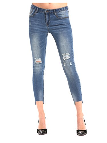 Alice & Elmer Damen Stretch Normaler Bund Ripped Löcher Skinny Ankle 7/8 Jeans Blau 31 (Hose Damen Ankle Stretch)
