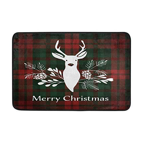 Bikofhd Christmas Reindeer Floral Outdoor Door Mats Shoes Scraper Front Entrance Outside Red Green Plaid Fußabtreter Patio Rug Dirt Debris Mud Trapper Mat 23.6 x 15.7 inches(40x60cm) Plaid Trapper
