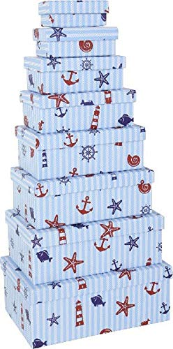 Paper Collection Muebles Hogar Accesorios DDecorativos Organización Contenedores Juego de 8 Cubos en Cartón de Almacenaje con Tapa Estilo Marítimo Varios Tamaños