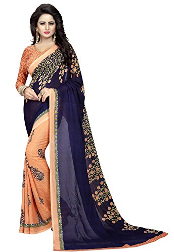 Ishin Faux Georgette Beige & Navy Half & Half Printed Party Wear Wedding Wear Casual Wear Festive Wear Bollywood New Collection Latest Design Trendy Women's Saree/Sari  available at amazon for Rs.370