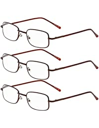 Zhhlaixing 3x Retro Classic Style Elderly Special Lunettes de lecture rétro Reading Glasses Metal Square for Men and Women