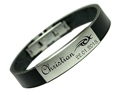 Tinasfunshop Echt Leder Armband 12 mm mit Edelstahl Gravurplatte und Edelstahl Verschluss einschließlich eine Gravur Ihrer Wahl (23 Zentimeter) (14 Zentimeter) (19 Zentimeter)