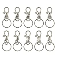 WINOMO 20 Sets of Large-sized Detachable Swivel Lobster Clasps Keychains 25mm Key Rings (Silver)