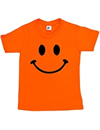 Retro Happy Funny Smiley Face Kids Boy Girl Cotton Short Sleeve T-Shirt Various Colours Available - Sizes 1 Year Old - 14 Year Old