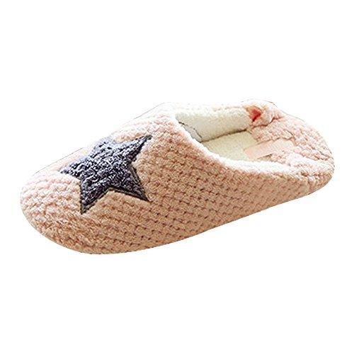 Eastlion Star Herz Ananas Muster warme Hausschuhe Indoor Startseite Slipper Rosa Größe 36-37