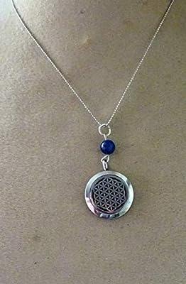 pendentif fleur de vie aromatherapie lapis lazuli