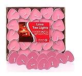Adkwse 50er herzförmige Kerzen, rauchfreie Teelichter, für Geburtstag, Vorschlag,Hochzeit,Party, Rot, Hochzeit Verlobung, Valentinstag (Rosa)