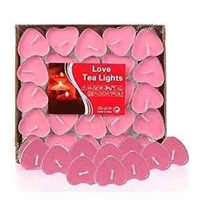 Adkwse 50er herzförmige Kerzen, rauchfreie Teelichter, für Geburtstag, Vorschlag,Hochzeit,Party, Rot, Hochzeit Verlobung, Valentinstag