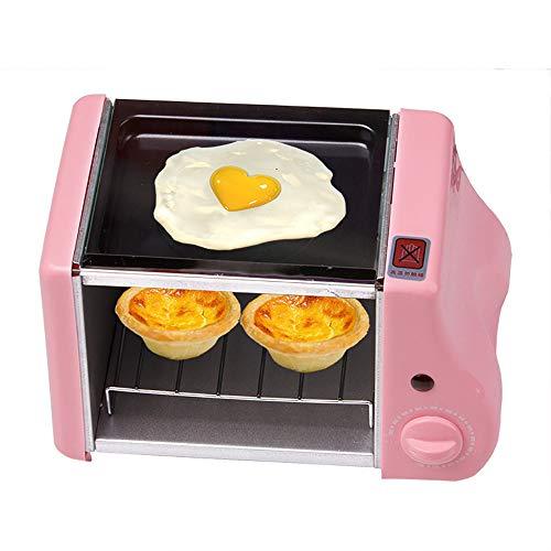 Multifunktions Mini Elektrische Backen BäCkerei Braten Backofen,Grill Gebraten Eier Omelett Pfanne FrüHstüCk Maschine Brot Maker Toaster,1,5 L Mini-FrüHstüCk Kleiner Ofen,Drei Farben,Pink