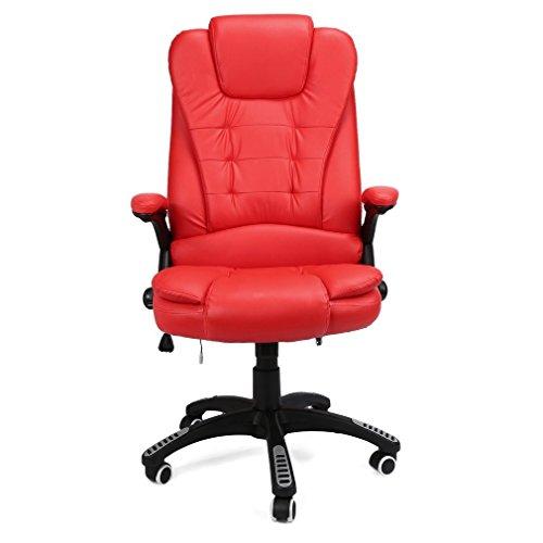 U-Kiss medicals Bürostuhl Schreibtischstuhl Bürostuhl mit Vibrations Massagefunktion Chair Swivel Reclining Luxury Leather (Massagestuhl) (Rot)
