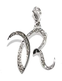 Gioie Women's Pendant in White 18k Gold with Diamond H/SI, Line Initials, 2.1 Grams