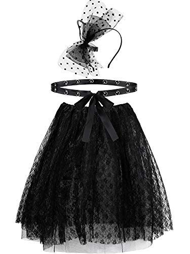 80's Costume Accessories Set. Lace Skirt, Waistband and Bow Headband