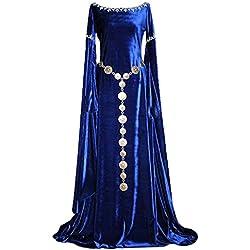 lancoszp Vestido Largo de Renacimiento Medieval Cuello Redondo para Mujer Azul, XXL