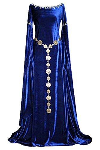 Tollstore Damen Mittelalter Kleid Langarm Gothic Viktorianischen Königin Kostüm, O-AusschnittPrinzessin Renaissance Kleid Bodenlänge M