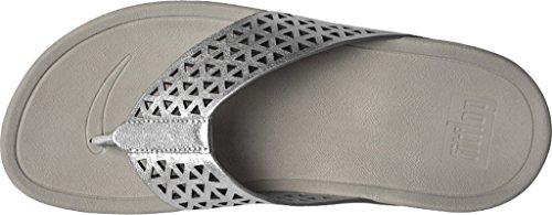 FitFlop Leather Lattice Surfa, Sandales femme argent métallique