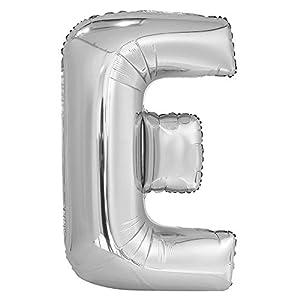 Unique Party Globo gigante letra E E, Color silver 86 cm 57512