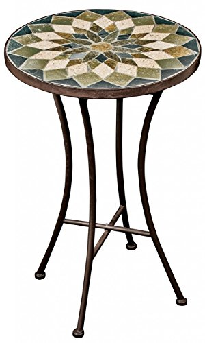 Small Outdoor Mosaic Table - Vintage Style Green Tiles & Iron Legs Patio Garden