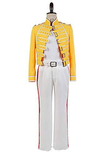 Queen Lead Vocals Freddie Mercury Yellow Jacket Costume Cosplay Herren L