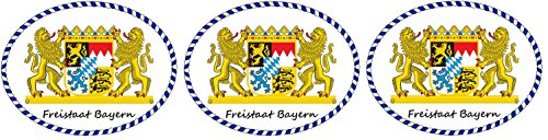 3x Mini 5x6,5 cm oval Auto Aufkleber Freistaat Bayern Löwen Wappen mit Schriftzug kleine Sticker fürs Motorrad Fahrrad Bike (Löwen Auto Aufkleber)