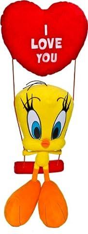 Tweety 233357 - Tweety auf Schaukel Plüschtier, 32 cm (55 cm)