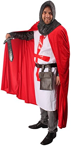 5-teiliges Kreuz-Ritter Kostüm-Set für Herren | Größe 58/60 | Kämpfer Kostümierung für Karneval | Krieger-Verkleidung in Rot-Weiß für Fasching | Mittelalter Karnevalskostüm für Fastnacht & Mottopartys