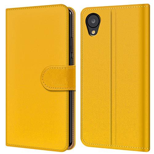Conie BW2621 Basic Wallet Kompatibel mit Google Nexus 5, Booklet PU Leder Hülle Tasche mit Kartenfächer und Aufstellfunktion für Nexus 5 Case Gelb (Nexus Wallet 5)