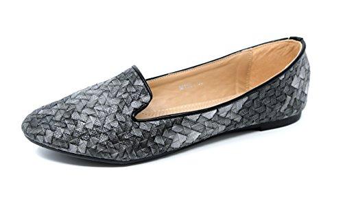 klassische Damen Schuhe Ballerinas Mokassins Flechtoptik Loafers Halbschuhe SlipOn Flats 8218 (36, grau) (Pants Mode Tricot)