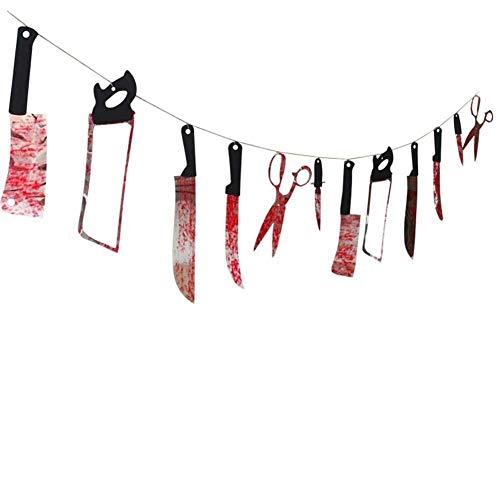 Techrace Blutige Waffe Garland, Halloween Banner 12 Stück Folter für Halloween hängende Dekorationen Spukhaus Indoor Outdoor Halloween Party Prop
