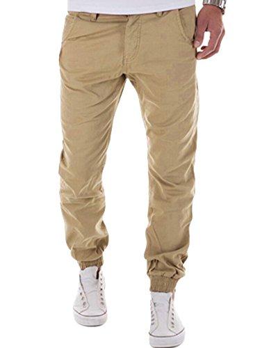 Uomo Slim Fit Sportivi Casual Pantaloni Allenamento Running Jogging Cachi XL