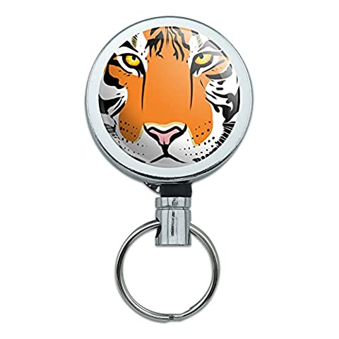 All Metal Retractable Reel ID Badge Key Card Holder with Belt Clip Animals - Tiger Face Safari