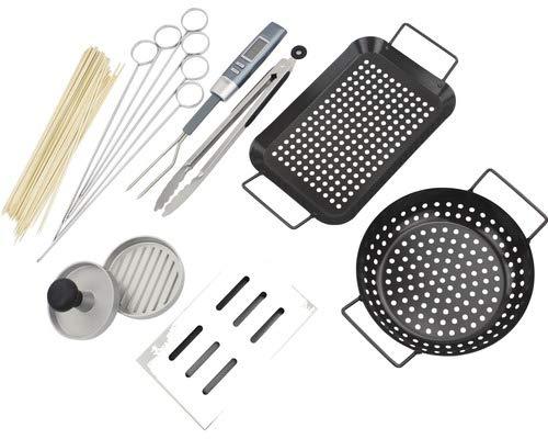 Tenneker Grillset 8 teilig (2 x Grillschale, 2 x Grillspieße aus Bambus und aus Edelstahl, Grillgabel mit Thermometer, Räucherbox, Grillzange, Burgerpresse)