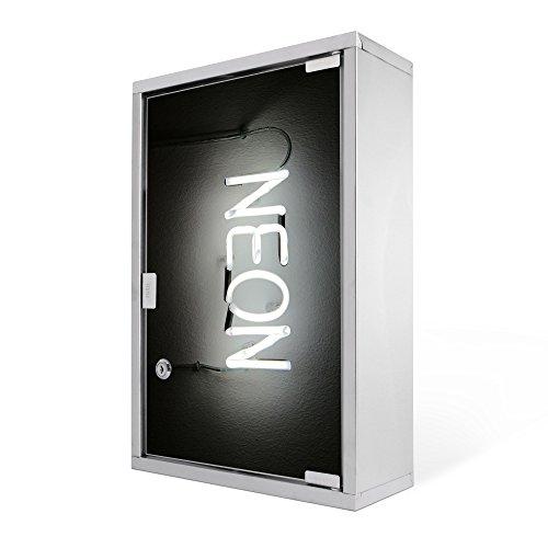 Medizinschrank groß Edelstahl abschließbar 30x45x12cm Arzneischrank Medikamentenschrank Hausapotheke Erste Hilfe Schrank Motiv Monochrom Neon