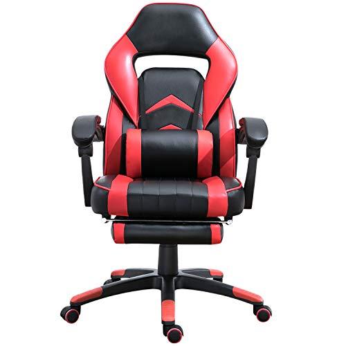 Samincom Gamingstuhl Sportsitz Bürostuhl mit Lendenkissen & Fußstütze, Rückenlehne höhenverstellbar, PU rot-schwarz