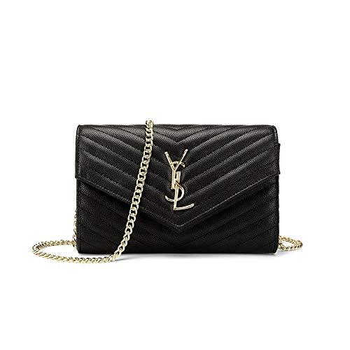 Sheli nero e borse a tracolla per donna in pelle pochette e clutch borsa con catena